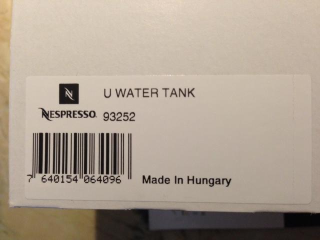 Replacement Nespresso U water tank