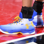 PORTLAND, OR - MAY 9:  The shoes of Stephen Curry #30 of the Golden State Warriors are seen during the game against the Portland Trail Blazers in Game Four of the Western Conference Semifinals during the 2016 NBA Playoffs on May 9, 2016 at the Moda Center in Portland, Oregon. NOTE TO USER: User expressly acknowledges and agrees that, by downloading and or using this Photograph, user is consenting to the terms and conditions of the Getty Images License Agreement. Mandatory Copyright Notice: Copyright 2016 NBAE (Photo by Andrew D. Bernstein/NBAE via Getty Images)