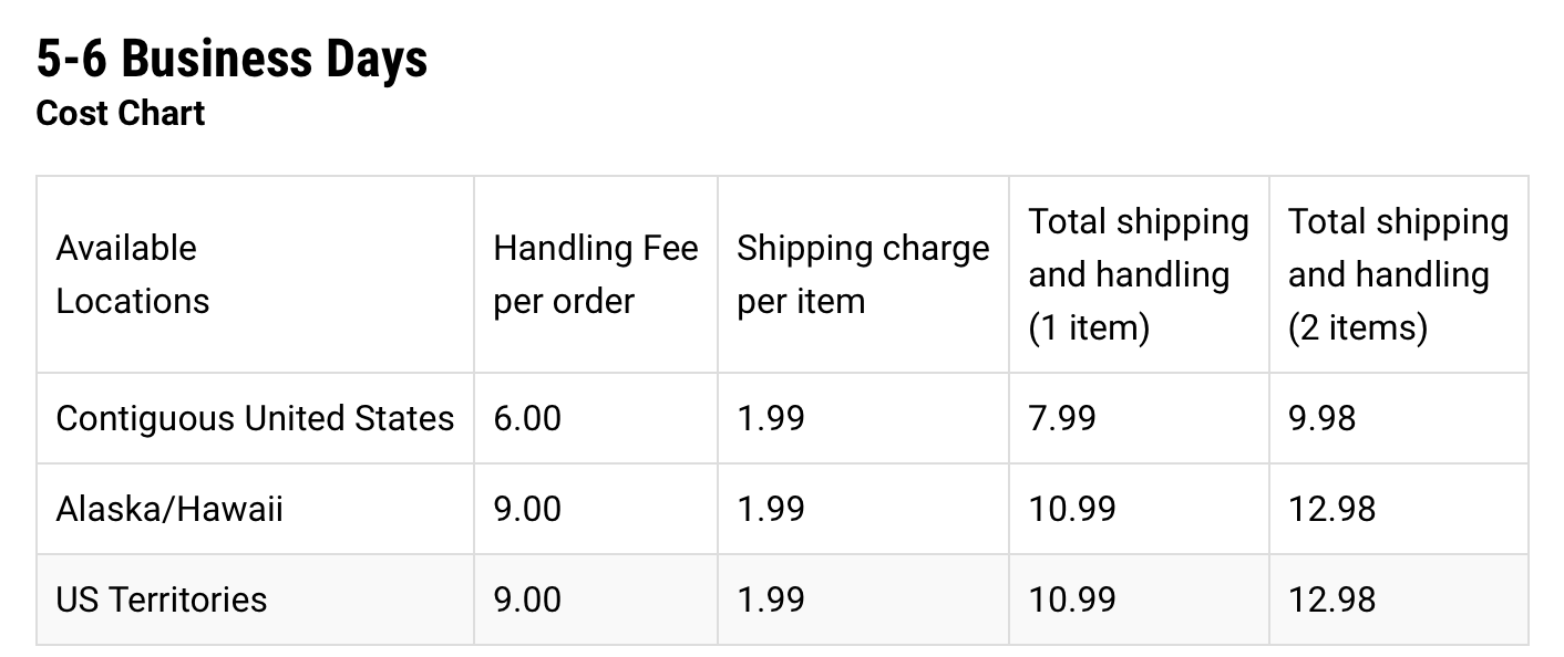 footaction-shipping-cost-chart